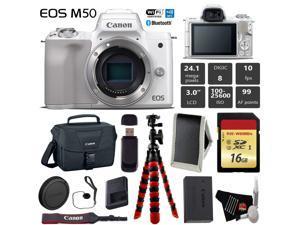 Canon EOS M50 Mirrorless Digital Camera (White, Body Only) + 16GB Class 10 Memory Card + Canon Camera Case + Flexible Tripod + Memory Card Wallet +  Cap Keeper + Card Reader - International Version