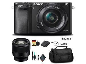 Sony Alpha a6000 Mirrorless Camera with 16-50mm Lens Black With Sony FE 85mm Lens, Soft Bag, Additional Battery, 64GB Memory Card, Card Reader , Plus Essential Accessories