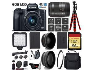 Canon EOS M50 Mirrorless Digital Camera with 15-45mm Lens + LED + UV FLD CPL Filter Kit + Wide Angle & Telephoto Lens + Camera Case + Tripod + Card Reader - International Version