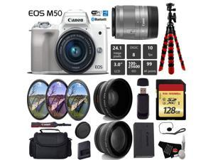 Canon EOS M50 Mirrorless Digital Camera (White) with 15-45mm Lens + UV FLD CPL Filter Kit + Wide Angle & Telephoto Lens + Camera Case + Tripod + Card Reader - International Version