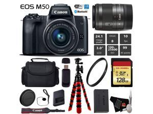 Canon EOS M50 Mirrorless Digital Camera with 15-45mm Lens + Flexible Tripod + UV Protection Filter + Professional Case + Card Reader - International Version