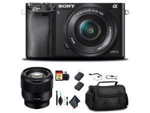 Sony Alpha a6000 Mirrorless Camera with 16-50mm and 55-210mm Lenses ILCE6000Y/B With Sony FE 85mm Lens, Soft Bag, Additional Battery, 64GB Memory Card, Card Reader , Plus Essential Accessories