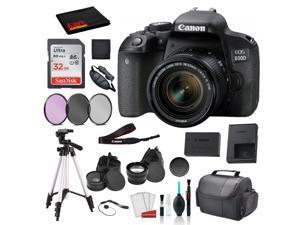 Canon EOS 800D (Rebel T7i) 18-55mm IS STM Lens  Bundle �SanDisk 32gb SD Card + 3PC Filter Kit + MORE - International