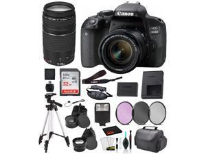 Canon EOS 800D (Rebel T7i) 18-55mm IS STM and EF 73-300mm Lens Bundle  SanDisk 32gb + Filters + MORE - International