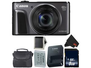Canon PowerShot SX720 HS Digital Camera 1070C001 (Intl Model) + 8GB SDHC Class 10 Memory Card + Carrying Case + Memory Card Wallet + MicroFiber Cloth Bundle