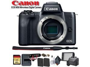Canon EOS M50 Mirrorless Digital Camera (Intl Model) (2680C001) W/ Bag, Extra Battery, LED Light, Mic, Filters and More - Advanced Bundle