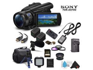 Sony Handycam FDR-AX700 4K HD Video Camera Camcorder Intl Model + Extra Battery and Charger + 3 Piece Filter Kit + Wide Angle Lens + Case + Tripod and More - Advanced Bundle