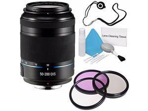 Samsung 50-200mm f/4.0-5.6 ED OIS Lens (Black) EX-T50200CSBUS + 3 Piece Filter Kit + Lens Cap Keeper + Deluxe Cleaning Kit 6AVE Bundle