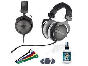 "Beyerdynamic DT 770 PRO 250 Ohm Studio Headphone - 6"" Velcro Straps - USB Card Reader - Goby Labs Headphone Cleaner 4oz"