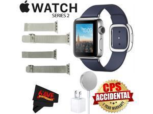 Apple Watch Series 2 38mm Smartwatch ( Stainless Steel Case, Midnight Blue Medium Modern Buckle Band) + WATCH BAND SILVER MESH 38mm + WATCH BAND SPACE GRAY MESH 38mm + MicroFiber Cloth Bundle