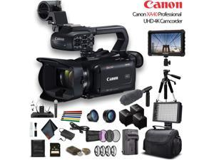 Canon XA40 Professional UHD 4K Camcorder W/ 2 Extra Battery, Soft Padded Bag, 64GB Memory Card, 3 Piece Filter Kit, LED Light, Lenses, 4K Monitor, Sony Mic And More Professional Bundle