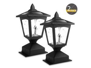 Solar Post Lights Outdoor, Solar Lamp Post Cap Lights for Wood Fence Posts Pathway, Deck, (Pack of 2)
