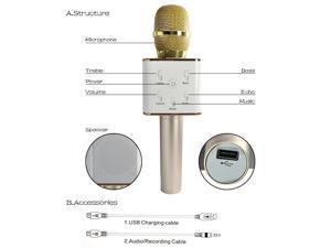 Portable Wireless Karaoke Microphone,Built-in Bluetooth Speaker K9