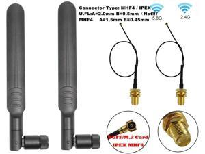 7dBi 2.4GHz 5GHz 5.8G Dual Band WiFi RP-SMA Male High Gain Antenna & MHF4 IPEX 4 to RP SMA Female Cable Antenna for NGFF M.2 IPEX4 MHF4 WiFi Card Wireless Routers PC Repeater Desktop PC FPV UAV Drone