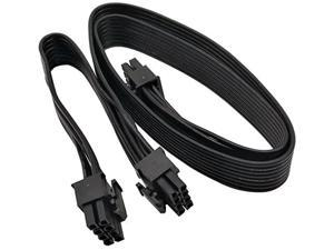 ATX CPU 8 Pin Male to Dual PCIe 2X 8 Pin (6+2) Male Power Adapter Cable for Corsair Modular Power Supply 25-inch+9-inch (63cm+23cm)