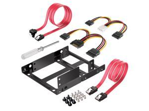 """Dual 2.5"""" to 3.5"""" HDD & SSD Converter Bracket Converts 2.5 Notebook Hard Drive to 3.5 Desktop Hard Drive Bay Mounting Bracket Adapter Mac 