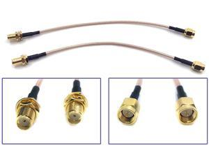 Pack of 2 RF RG316 SMA Male to SMA Female Nut Bulkhead Crimp Antenna Low Loss Coaxial Cable (12 inches (30 cm))