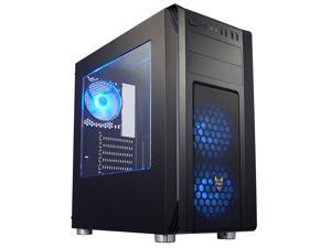 FSP CMT230 ATX Mid Tower PC Computer Gaming Case - Black Chassis with Translucent Sides