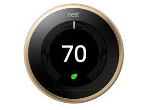 Google Nest T3032US Learning Thermostat 3rd Gen Smart Thermostat, Brass Bundle Temperature Sensor - Brushed Brass