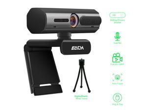 AutoFocus Full HD Webcam 1080P with Privacy Shutter - Pro Web Camera with Dual Digital Mic - USB Computer Camera for PC Laptop Desktop Mac Video Calling, Conferencing Skype (Tripod not included)