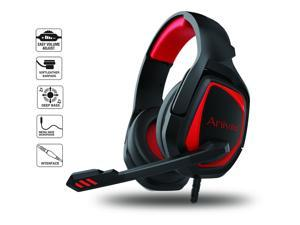 PS4 Gaming Headset,PC Gaming Headset with Mic, Stereo Headphones Gaming Headset,MH602 Red Headset Compatible with PC Computers Xbox One Controller, Android, iOS Laptop, Smartphone, Tablet