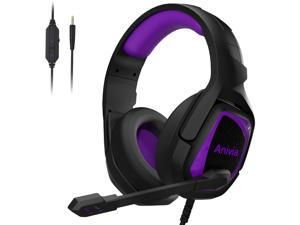 Gaming Headset, Anivia PS4 Over Ear Headphones Soft Memory Earmuffs with Mic, Stereo Bass Surround for PS4 PC Xbox Laptop Mac(MH602 Black Purple)