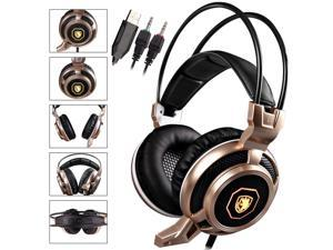 Stereo Gaming Headphones With LED Lighting, USB Headset with Microphone 3.5mm for PC Mac PS4 Laptop