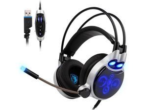 SADES SA908 Gaming Headset Digital 7.1 Channel Surround Sound USB PC Stereo Headphones with High Sensitivity Microphone LED Light