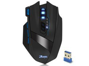 Zelotes F15 Wireless Gaming Mouse For Mac Pro Windows 10 PC Notebook 2500 DPI Adjustable 9 Buttons Led Optical Gaming Mice for Laptop Desktop Gamer