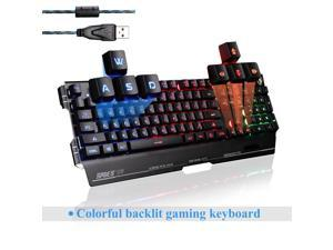 SADES K8 Blademail Wired USB Gaming Keyboards for Pc/Mac gamers, 19 non-conflict keys, 7 colors Backlit, Metal Material