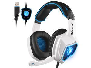 SADES Spirit Wolf 7.1 Surround Sound Stereo USB Gaming Headset Headband Headphones with Mic Over-the-Ear Noise Isolating Volume Control LED Light For PC Gamers (Black White)