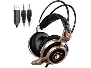 SADES Arcmage Gold Stereo Gaming Headphones With LED Lighting 3.5mm with Microphone for PC Mac PS4 Laptop