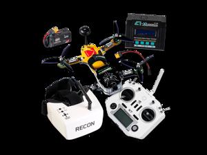 KODAK RIOT 250R SPORT FPV RTF Drone Kit Carbon Fiber Frame Addressable RGB LEDs Fat Shark Recon V2 DVR Goggles FrSky Taranis Q X7 Transmitter R-XSR Receiver EV-Peak C1-XR Charger Batteries Included