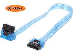 Nippon Labs SATA3L0.8FT-90/180BU-50P 0.8 ft. SATA III Cable w/ Locking Latch (90 degree to 180 degree) 0.8 feet- 50 Packs