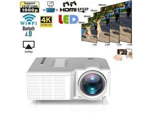 4K WIFI 3D 1080P Mini White LED LCD Projector Cinema HDMI Room Home Theater