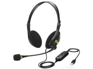 USB Wired Headphones w/ Microphone Office Headsets Earphones For PC Laptop