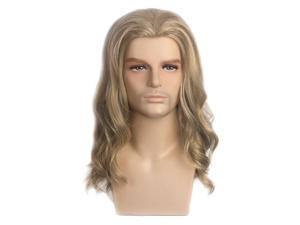 Men Long Curly Wave Wigs Male Cosplay Hair Ombre Ash Blonde Costume Toupee w/Cap