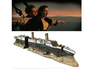 SLOCME Aquarium Titanic Shipwreck Decorations - Resin Material Ship Ornament