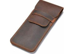 LEATHER PEN CASE HOLDER HANDMADE Fountain Multi Pens Pouch Crazy Horse Leather