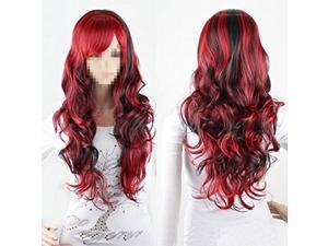 Fashion Anime Cosplay Wigs Red and Black for Women Long Curly Hair Wigs US