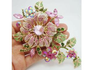 High quality Fashion Pretty Orchid Pink Rhinestone Crystal Flower Brooch Pin