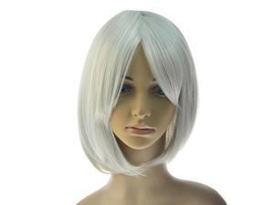 For NieR Automata 2B YoRHa No. 2 Short Straight White Cosplay Wig Bob Hair Wigs