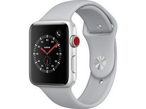 Apple Watch Series 3 (GPS + Cellular), 42mm Silver Aluminum Case with Fog Sport Band - Silver Aluminum