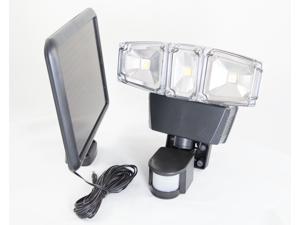 Solar Power Motion Sensor 180 Degree Triple Lamp Security Light with Advance COB LED Technology