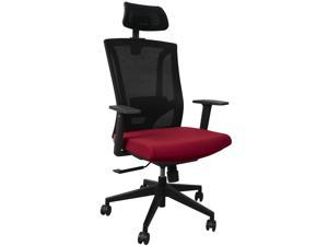 AnthroDesk Ergonomic Office Chair, 360-degree Swivel Rotation, Adjustable Headrest and Armrest, Breathable (Red)