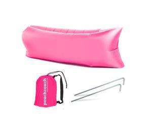 Easy Inflatable Waterproof Lounger Sofa Airbed Couch for Indoor or Outdoor Use with Carry Bag (Pink)