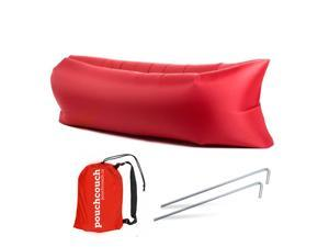 Easy Inflatable Waterproof Lounger Sofa Airbed Couch for Indoor or Outdoor Use with Carry Bag (Red)
