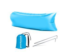 Easy Inflatable Waterproof Lounger Sofa Airbed Couch for Indoor or Outdoor Use with Carry Bag (Blue)