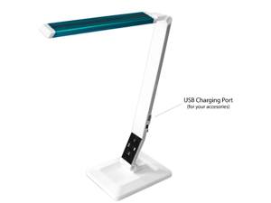 AnthroDesk Dimmable LED Desk Lamp with Touch-Sensitive Control Panel and USB Charging Port (Blue Accent)