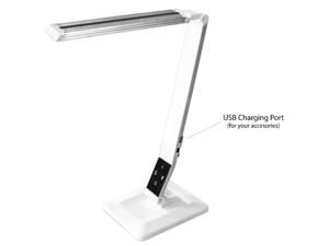 AnthroDesk Dimmable LED Desk Lamp with Touch-Sensitive Control Panel and USB Charging Port (Silver Accent)
